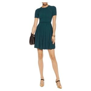Milly Pointelle Stretch-Knit Teal Mini Dress